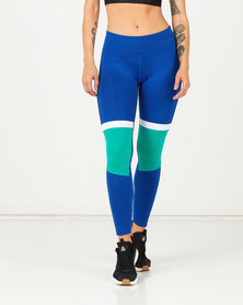 Reebok Performance Meet You There Paneled Poly Tights Blue