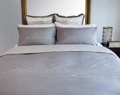 Bella Linen Arabella Stone Embroidered Cotton Percale Duvet Set - Superking