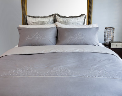 Bella Linen Arabella Stone Embroidered Cotton Percale Duvet Set - Double