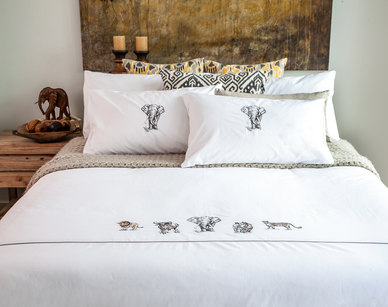 Bella Linen Big Five Embroidered Cotton Percale Duvet Set - ThreeQuarter