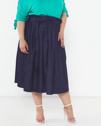 Utopia Plus Denim Pleated Flare Skirt Indigo