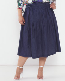 Utopia Plus Denim Pleated Flare Skirt Navy