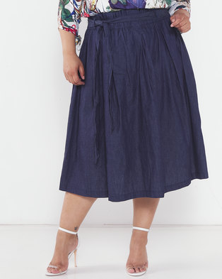 Utopia Plus Denim Pleated Flare Skirt Navy