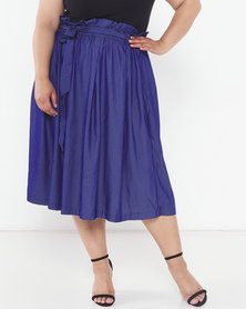 Utopia Plus Lightweight Denim Pleated Flare Skirt Blue