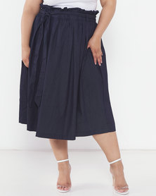 Utopia Printed Plus Denim Pleated Flare Skirt Blue