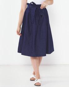 Utopia Denim Pleated Flare Skirt Indigo