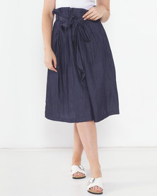 Utopia Denim Pleated Flare Skirt Blue