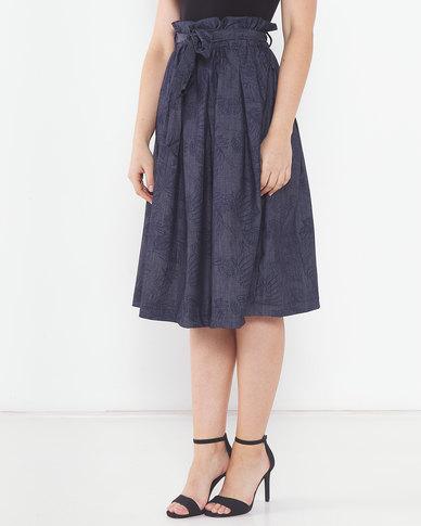 Utopia Denim Pleated Flare Blue Floral Skirt Print