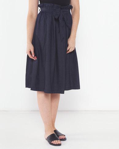 Utopia Denim Pleated Flare Skirt Printed