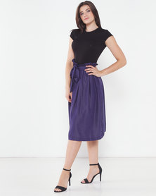 Utopia Denim Pleated Flare Skirt Navy