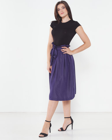 Utopia Denim Pleated Flare Skirt Navy