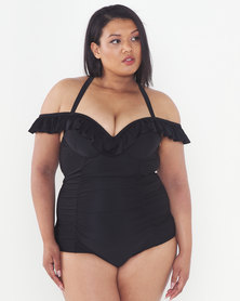 Lu-May Plus Frill Detail One Piece Black