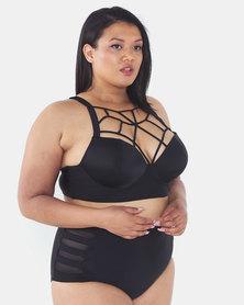 Lu-May Plus Lace Front Top And High Waist Bikini Bottom 2 Piece Black