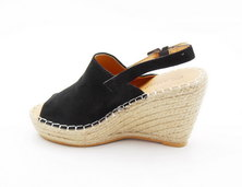 LaMara Paris Amber black print suede wedge sandals
