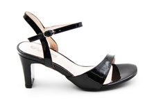 Park Lane patent strappy sandals black