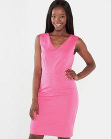 Smashed Lemon V-neck Sleeveless Shift Dress Pink