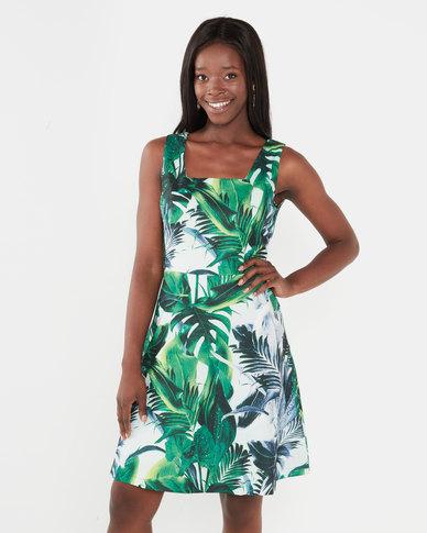 Smashed LemonSsquare Neck Sleeveless Tropical Printed Dress Green