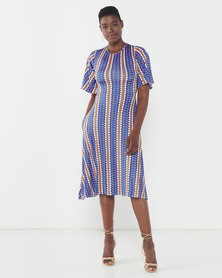 African Style Story Beja Dress Blue
