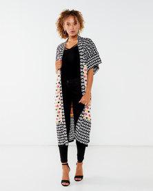 African Style Story 100% Silk Odemira Kimono Black