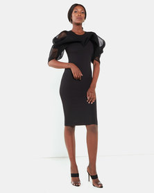 Erre Shoulder Detail Mesh Pencil Dress Black