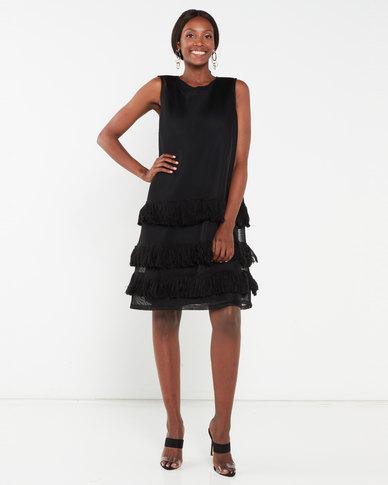 Erre Fringe Mesh Trapeze Dress Black