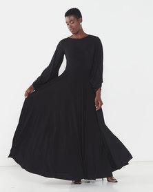 Erre Power Sleeve Maxi Dress Black