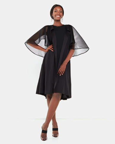 Erre Cape Sleeve Mesh Cover-up Black