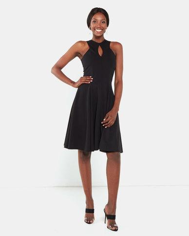Erre Knee Length Fit & Flare Dress Black