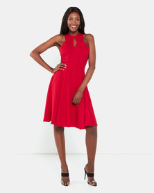 Erre Knee Length Fit & Flare Dress Red