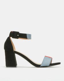 Urban Zone Colour Block Ankle Strap Block Heels Black