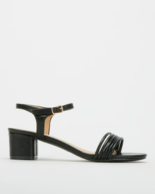 Urban Zone Multi Toe Strap Block Heel Black