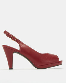 Urban Zone Open Toe Slingback Platforms Red
