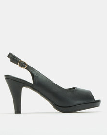 Urban Zone Open Toe Slingback Platforms Black