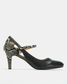Urban Zone Snake Print Contrast Mary Jane Courts Black