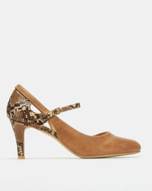 Urban Zone Snake Print contrast Mary Jane Courts Taupe