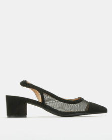 Urban Zone Mesh Detail Pointy Slingback Courts Black