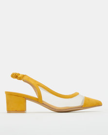 Urban Zone Mesh Detail Pointy Slingback Courts Mustard