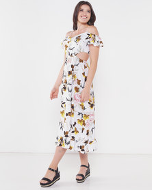 Utopia Print Midi Flare Dress Neutrals White