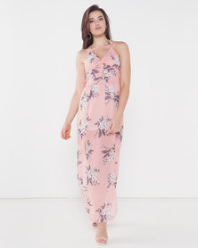 Utopia Floral Halterneck Dress With Slits Pink
