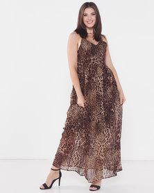 Utopia Animal Print Maxi Dress Neutral