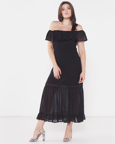 Utopia Bardot Maxi Dress Black