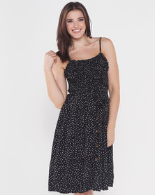 Utopia Button Through Dress Black