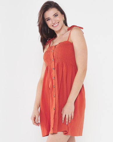 Utopia Shirred Dress With Buttons Rust