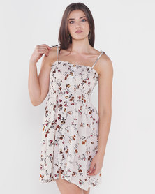 Utopia Floral Shirred Dress With Buttons White