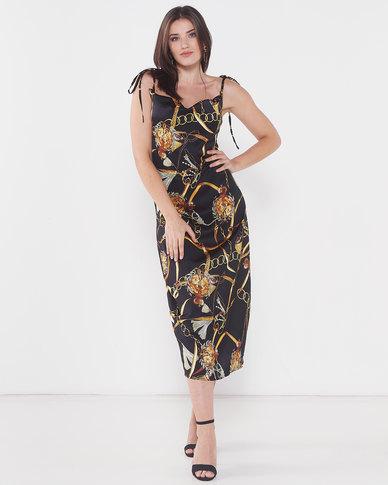 Utopia Chain Print Slip Dress Black