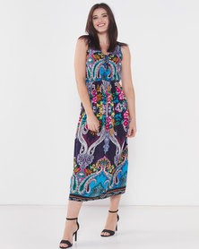 Utopia Paisley Print Maxi Dress Multi Colour
