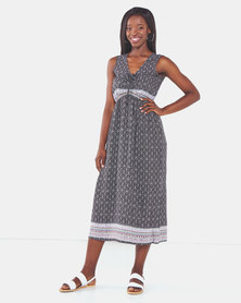 Utopia Print Maxi Dress Black/White