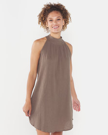 Utopia Halterneck Trapeze Dress Taupe