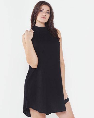 Utopia Halterneck Trapeze Dress Black