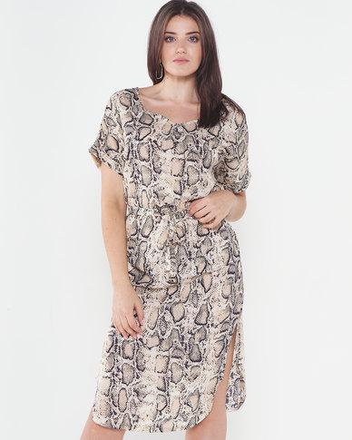 Utopia Snake Print Midi Dress Brown